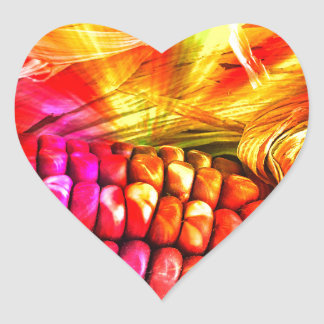 hot striped maize heart sticker