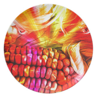 hot striped maize party plates