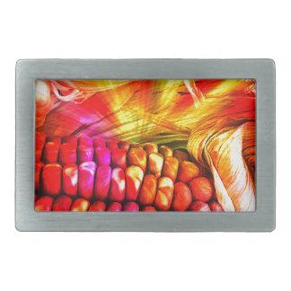 hot striped maize rectangular belt buckle