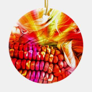 hot striped maize round ceramic ornament