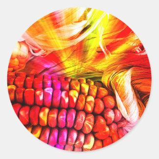 hot striped maize round sticker