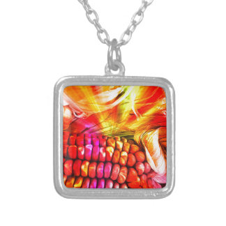 hot striped maize silver plated necklace