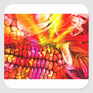 hot striped maize square sticker