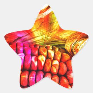 hot striped maize star sticker