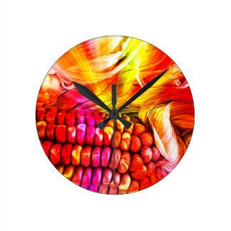 hot striped maize wall clocks