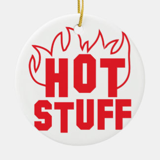 Hot stuff flames in RED Round Ceramic Ornament