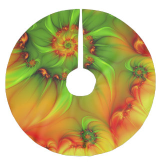 Hot Summer Green Orange Abstract Colorful Fractal Brushed Polyester Tree Skirt