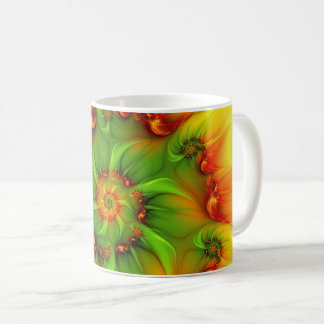Hot Summer Green Orange Abstract Colorful Fractal Coffee Mug