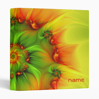 Hot Summer Green Orange Abstract Colorful Name Vinyl Binders