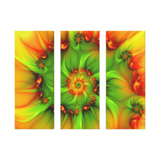Hot Summer Green Orange Abstract Colorful Triptych Canvas Print