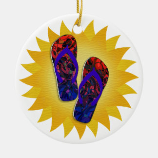 Hot Summer Nights - Blue and Red Flip-Flops Ceramic Ornament