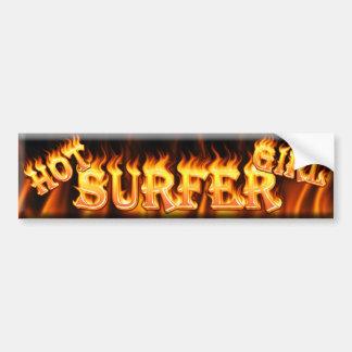 hot surfer girl car bumper sticker