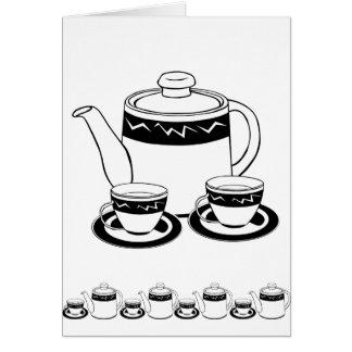 Hot Tea - Tea Pot  and Tea Cups Cards