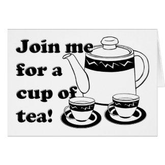 Hot Tea - Tea Pot  and Tea Cups Greeting Card
