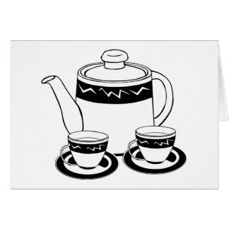 Hot Tea - Tea Pot  and Tea Cups Card