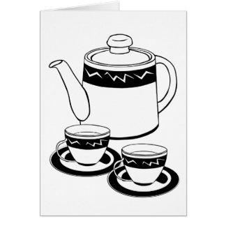 Hot Tea - Tea Pot  and Tea Cups Greeting Cards