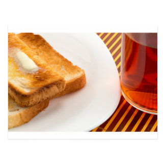 Hot toast with butter and cup of tea postcard