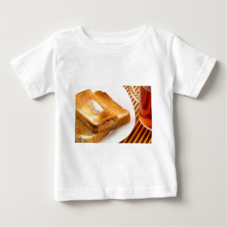 Hot toast with butter on a white plate baby T-Shirt