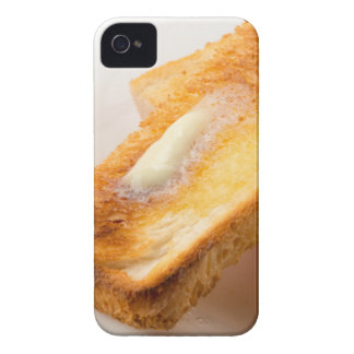 Hot toast with butter on a white plate close-up iPhone 4 Case-Mate case