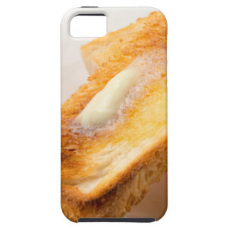 Hot toast with butter on a white plate close-up iPhone 5 case