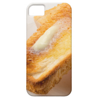 Hot toast with butter on a white plate close-up iPhone 5 covers