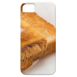 Hot toast with butter on a white plate iPhone 5 case