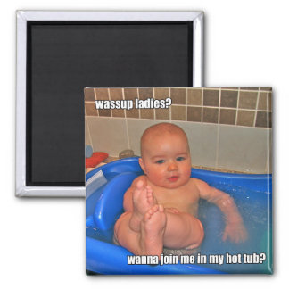 Hot Tub Baby Square Magnet