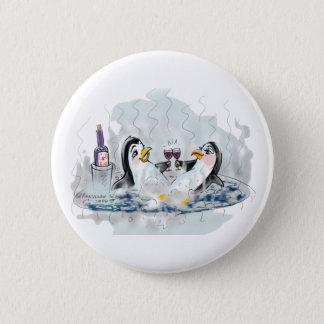 Hot Tub Penguin 2 Inch Round Button