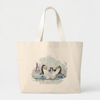 Hot Tub Penguins_bl Large Tote Bag