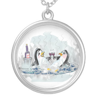 Hot Tub Penguins Silver Plated Necklace