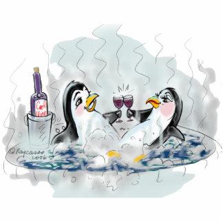 Hot Tub Penguins Standing Photo Sculpture