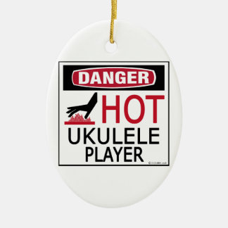 Hot Ukulele Player Ceramic Ornament