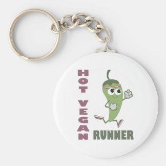 Hot Vegan Runner Basic Round Button Keychain