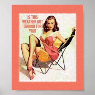 Hot Weather Vintage Pinup Digital Art Poster