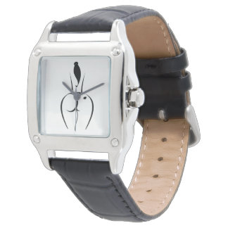 Hot Woman Black Leather Strap Watch