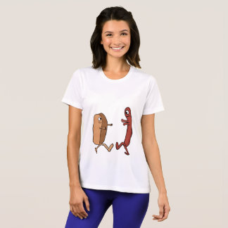 hotdog bun and weiner couple shirt