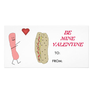 Hotdog Bun Be Mine Valentine Card Photo Card Template