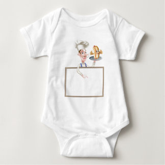 Hotdog Cartoon Chef Signboard Baby Bodysuit