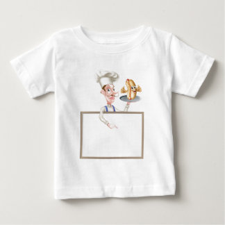 Hotdog Cartoon Chef Signboard Baby T-Shirt