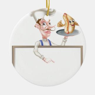 Hotdog Cartoon Chef Signboard Ceramic Ornament