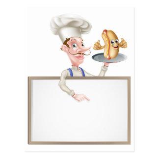 Hotdog Cartoon Chef Signboard Postcard