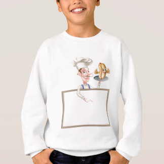 Hotdog Cartoon Chef Signboard Sweatshirt