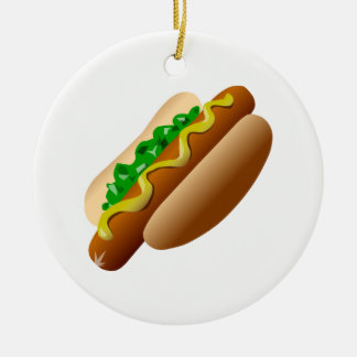 Hotdog Ceramic Ornament