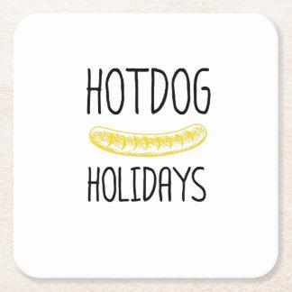 Hotdog Holidays Party Family Funny Square Paper Coaster