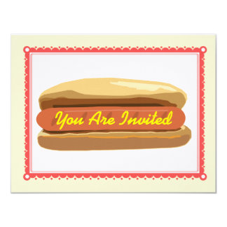 Hotdog Invitation- Summer Backyard Barbque Cookout Card