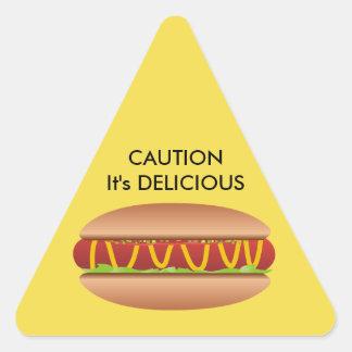 Hotdog picture triangle sticker