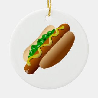 Hotdog Round Ceramic Ornament