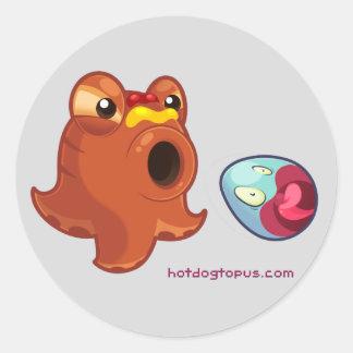 Hotdogtopus Hotdog Octopus with Ketchup & Mustard Classic Round Sticker