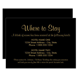 Hotel Accommodation Card | Custom Colors