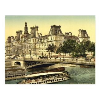Hotel de ville, Paris, France classic Photochrom Postcard